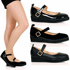 WOMENS SHOES LADIES SMART STRAP BUCKLE LOW WEDGE FLATFORM HEELS OFFICE NEW SIZE
