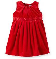 Baby Girls CARTER'S Red Holiday Party Dress Size 6 12 Mo Velour Xmas Valentines