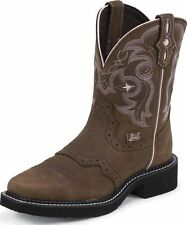 """Justin Women's 8"""" Gypsy Square Toe Western Boots Bay Apache Leather Medium L9965"""