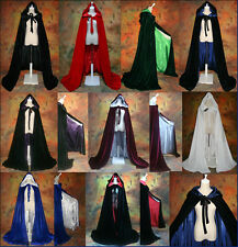 Velvet Satin Hooded Cloak Christmas Coat Wicca Robe Medieval Wedding Cape Stock