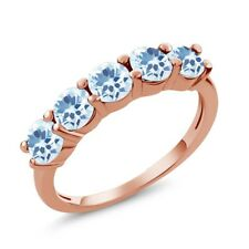 1.65 Ct Round Sky Blue Topaz 925 Rose Gold Plated Silver 5-Stone Band Ring