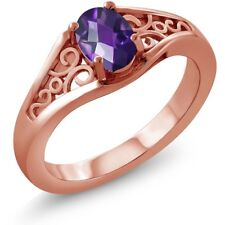 0.75 Ct Oval Checkerboard Purple Amethyst 925 Rose Gold Plated Silver Ring