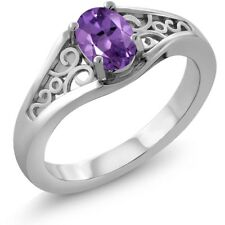 0.75 Ct Oval Purple Amethyst 18K White Gold Ring