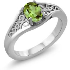 0.80 Ct Oval Green Peridot 925 Sterling Silver Ring