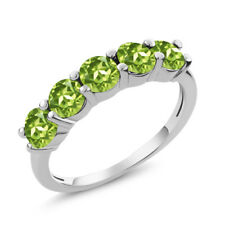 1.50 Ct Round Green Peridot 925 Sterling Silver 5-Stone Band Women's Ring