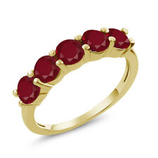 1.50 Ct Round Red Ruby 925 Yellow Gold Plated Silver 5-Stone Band Ring