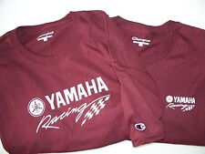 Two Yamaha Racing Screen Printed Maroon Champion T-Shirts 6.1 oz. 100% Cotton