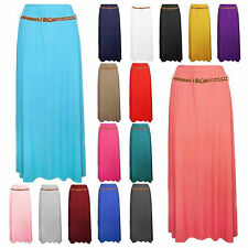 WOMENS LADIES LONG ELASTICATED CASUAL PLAIN JERSEY FLARED GYPSY MAXI  SKIRT 8-14