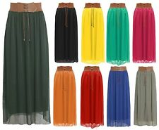 New Womens Ladies Chiffon Skirt Long Maxi Skirt Belted Waist UK Size 8-16