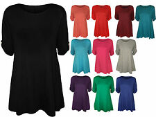 New Womens Short Sleeve Flared Swing Dress Ladies Long Plain Tunic Top Plus Size