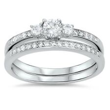 STERLING SILVER 925 ROUND DESIGN BRIDAL WEDDING SET CLEAR CZ RING 5MM SIZES 4-11
