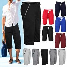 MENS CASUAL LONG SHORTS 3/4 SUMMER GYM JOGGING JERSEY SPORTS PANTS TROUSERS