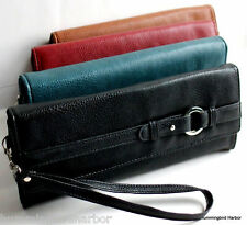 Mundi Wristlet Wallet Faux Leather with Detachable Strap Coin Purse ID Holder