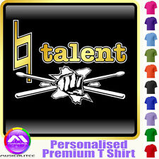 Drum Kit Natural Talent - Personalised Music T Shirt 5yrs - 6XL by MusicaliTee