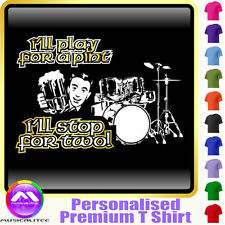 Drum Kit Play For A Pint - Personalised Music T Shirt 5yrs - 6XL by MusicaliTee