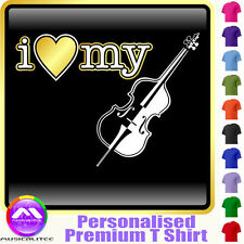 Double Bass I Love My - Personalised Music T Shirt 5yrs - 6XL by MusicaliTee