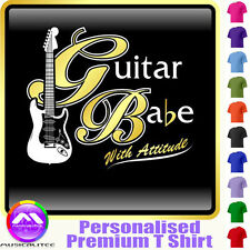 Electric Guitar Babe With Attitude 1 - Music T Shirt 5yrs - 6XL by MusicaliTee