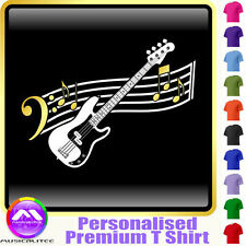 Bass Guitar Curved Stave - Personalised Music T Shirt 5yrs - 6XL by MusicaliTee