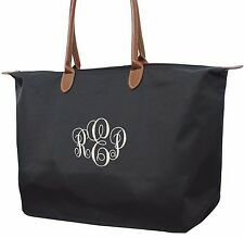 Designer Inspired Black Tote Overnight Carry On Bag Circle Monogram Personalize
