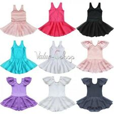 Girls Kids Gymnastics Ballet Dance Dress Party Tutu Skirt 2-14Y Leotard Costume