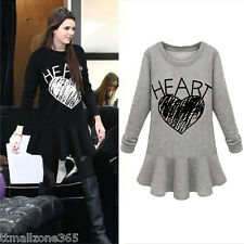 Lady Womens Contrast Heart Print Pleated Top Shirt Blouse Long Sleeve Mini Dress