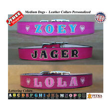 "Pink Leather Dog Collar, Custom Made Dog Collars, Dog Collars Unique, 3/4"" M"