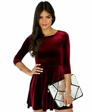 SEXY WOMEN LADIES VELVET SKATER DRESS BODYCON 3/4 SLEEVE PARTY DRESS TOP