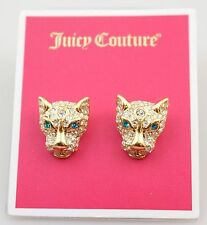 Juicy Couture Gold Crystal Pave Leopard Stud Earrings NWT