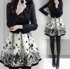 Korean Fashion Womens Elegant Spring Autumn FLower Print Long Sleeve Mini Dress