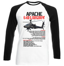 APACHE LONGBOW HELICOPTER-  COTTON BLACK SLEEVED BASEBALL T-SHIRT- S-M-L-XL-XXL