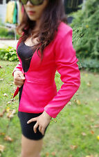 Womens Pink Blazer Fit Jacket Suit Work Casual Basic Long Sleeve Button