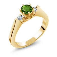 0.66 Ct Green Chrome Diopside White Topaz  YG Plated Silver  Ring