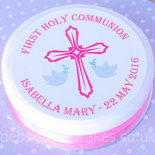 Holy Communion Cake Topper - Girls Pink Personalised First Holy Communion Cake