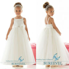 White Straps Flower Girl Dresses Princess Pageant Wedding Party Birthday Dresses