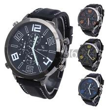Men Quartz Wristwatch Wrist Watch Silicon Band Round Big Dial Arabic Numerals
