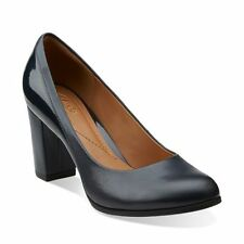 Clarks Basil Auburn Womens Navy Leather Shoes - New With Box