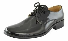 Boys Lace Up Retro Dress Shoes Faux Patent Leather Glossy Oxfords Black