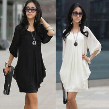 Womens Summer Short Sleeve Chiffon Mini Dress Ladies Fashion Party Evening Dress
