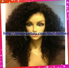 Kinky curly 100% Brazilian Human Remy Hair Full /Front Lace WIGS BABY HAIR