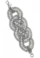 Stella Dot Petra Braided Silver Plate Chain Crystal Statement Bracelet,AUTHENTIC