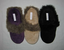 Womens WASHABLE FAUX FUR SLIPPERS / shoes - S 5/6 - assorted colors