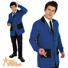 Adult Teddy Boy Costume Blue Mens 50s Rock n Roll Jacket Fancy Dress Outfit New