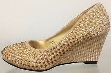 Lucita 2116 Round Toe Kitten Wedge Prom Wedding Rhinestone Glitter Slip On Shoe