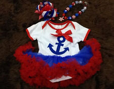 Baby Girls 4th of July Anchor Tutu Dress Hair Bow Set Outfit 6M 12M 18M 24M