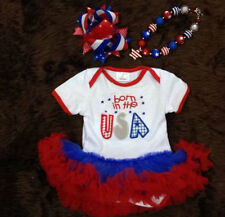 Baby Girls 4th of July Born In The USA Tutu Dress Hair Bow Set 6M 12M 18M 24M