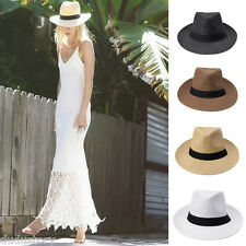 Unisex Men Women Panama Straw Hat Ribbon Pinch Top Crown Brim Trim Pretty Cap