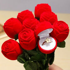Rose Romantic Wedding Ring Earring Pendant Necklace Jewelry Display Gift Box Hot