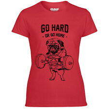 Womens Pug GO HARD OR GO HOME T-Shirt Funny Workout Training Gym RED or WHITE