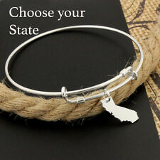 Sterling Silver State Charm expandable bangle bracelet Choose state ADJUSTABLE