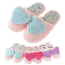 New Ladies Soft Cosy Furry Cute Love Heart Warm Winter Slippers Shoes Indoor